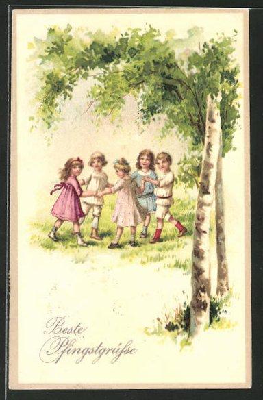 Lithographie Kinder tanzen Ringelreihen,
