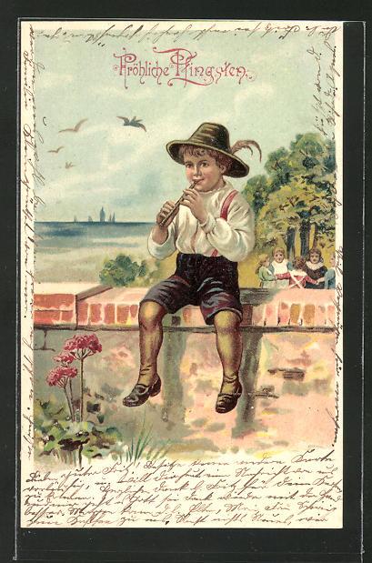 Lithographie Junge sitzt auf der Mauer und spielt Flöte,