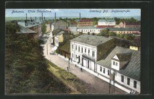 AK Oderberg, Stefaniestrasse mit Häuserzeilen und Totalansicht aus der Vogelschau