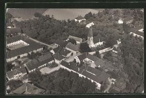 AK Oftering, Luftbildaufnahme der Kirche mit Umgegend