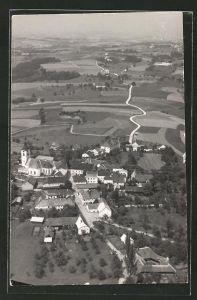 AK St. Martin im Mühlkreis, Gesamtansicht mit Blick über die Felder, Fliegeraufnahme