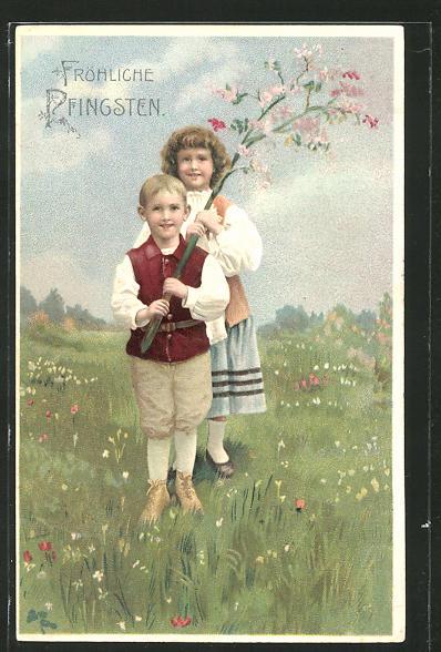 Präge-AK Fröhliche Pfingsten, Kinder mit blühendem Zweig