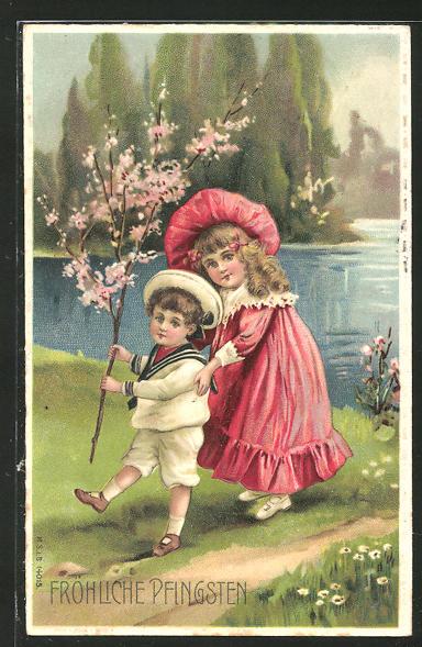 Präge-AK Fröhliche Pfingsten, Mädchen und kleiner Bub mit blühendem Zweig