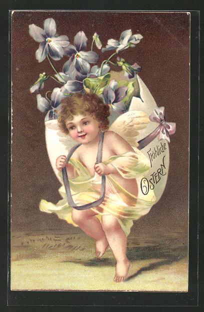Präge-AK Kleiner Osterengel trägt ein Ei mit Veilchen auf dem Rücken