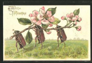 Präge-AK Fröhliche Pfingsten!, Maikäfer tragen blühenden Zweig