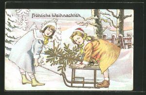 Präge-AK hübsche Mädchen mit Schlitten und Tannenbaum im Winter, Fröhliche Weihnachten