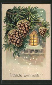 Präge-AK Fröhliche Weihnachten, Tannenzapfen und Fensterblick