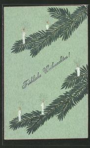 Präge-AK Tannenzweige mit Kerzen, Fröhliche Weihnachten