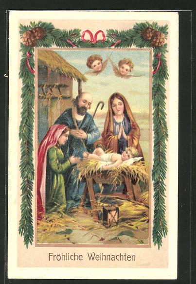 Frohe Weihnachten Jesus.Prage Ak Jesus In Der Krippe Mit Maria Josef Weihnachtsengeln Frohliche Weihnachten