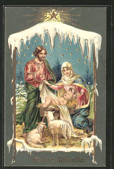 Frohe Weihnachten Jesus.Prage Ak Maria Josef An Jesus Krippe Mit Goldverzierungen Frohliche Weihnachten