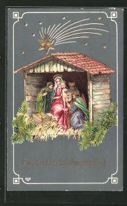 Präge-AK die heiligen drei Könige bei Maria & Jesus im Stall, Weihnachten