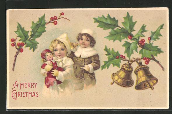 AK Junge spielt Trompete & Mädchen spielt mit Puppe, Mistelzweige & läutende Glocken, A Merry Christmas, Weihnachten