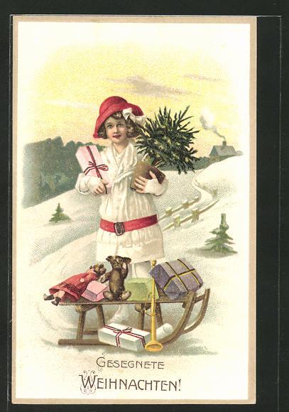 AK junge Dame mit Geschenken auf einem Schlitten,