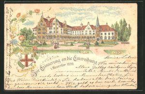 Lithographie Freiburg, Diakonissen-Krankenhaus, zur Erinnerung an die Einweihung 1898