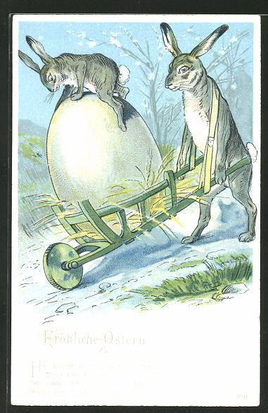 Lithographie Osterhase transportiert Ei und Hasenkind mit der Schubkarre,