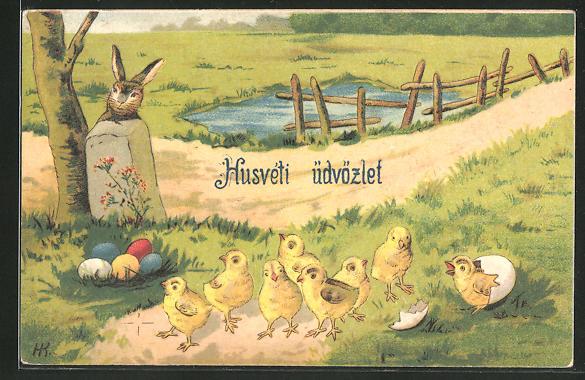 Präge-AK Osterhase versteckt sich hinter einem Stein am Eiernest mit Küken