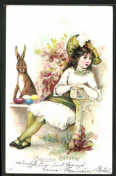 AK Osterhase legt bemalte Eier bei einem Mädchen ab