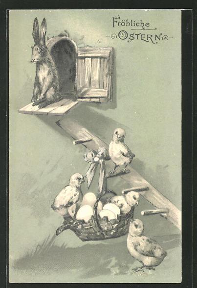 Präge-AK Osterhase und Küken am Hühnerstall