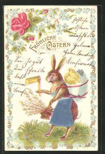 AK Osterküken in einem Ei auf dem Rücken des Osterhasen