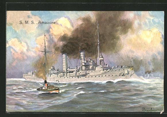 AK Kriegsschiff S. M. S. Amazone auf hoher See
