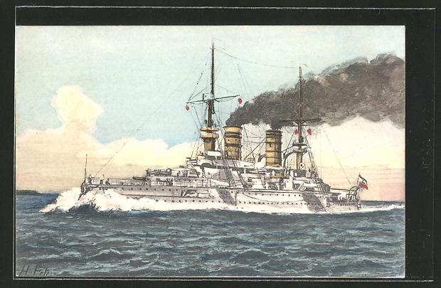AK Kriegsschiff S. M. S. Kaiser Barbarossa in voller Fahrt