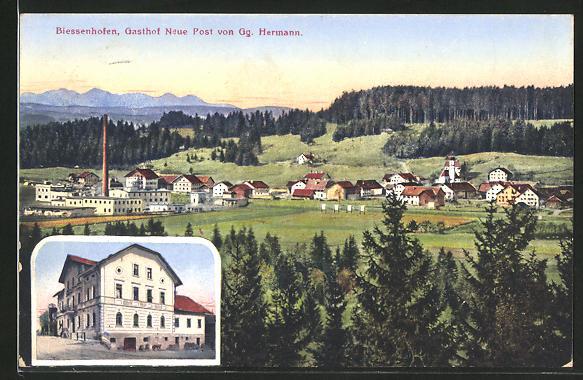 AK Biessenhofen, Gasthof Neue Post von Gg. Hermann, Ortsansicht aus der Vogelschau