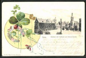 Präge-AK Riesa, Rathaus mit Aichamt & Klosterkirche, Klee, Hufeisen
