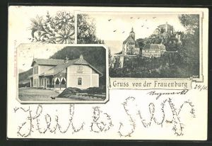 AK Unzmarkt-Frauenburg, Gasthaus Wittingauer Bierkeller und Ruine Frauenburg