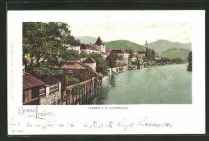 AK Leoben, Teilansicht v. d. Murbrücke