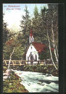 AK Göss, Kirche Kaltenbrunn mit Flusspartie
