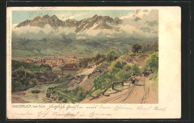 Künstler-AK Edward Theodore Compton: Innsbruck, Totalansicht gegen Süden