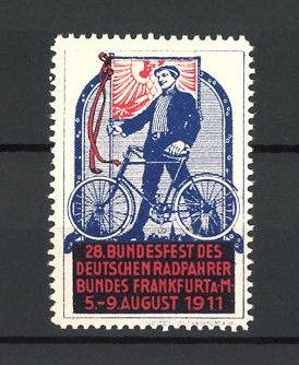 Reklamemarke Frankfurt a.M., 28. Bundesfest des Deutschen Radfahrerbundes, Mann mit Fahrrad