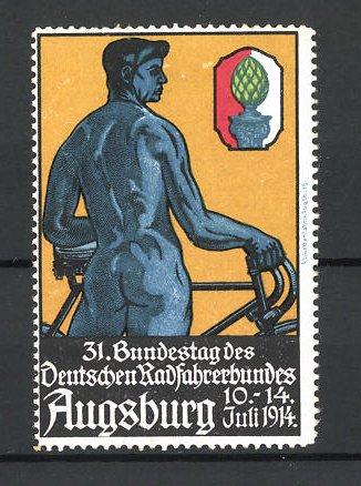 Reklamemarke Augsburg, 31. Bundestag des Deutschen Radfahrerbundes 1914