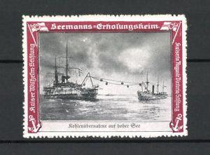 Reklamemarke Kriegsschiff, Kohlenübernahme auf hoher See