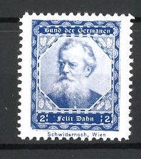 Reklamemarke Bund der Germanen, Porträt Schriftsteller Felix Dahn, blau