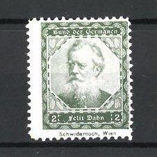 Reklamemarke Bund der Germanen, Porträt Schriftsteller Felix Dahn, grün