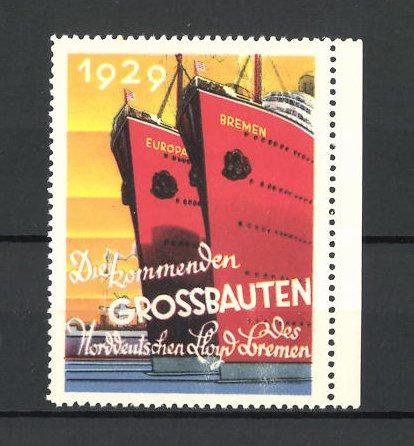 Reklamemarke Bremen, Norddeutscher Lloyd, Schiffe-Grossbauten 1929