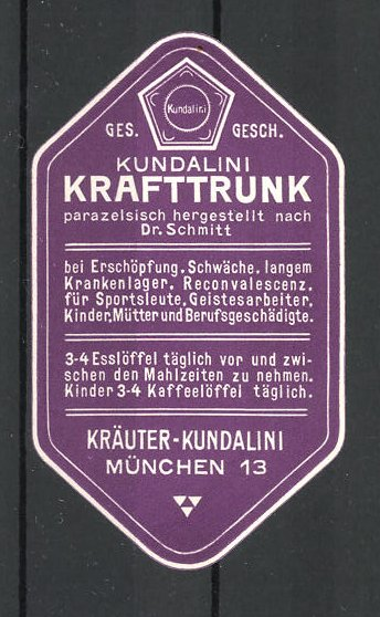 Reklamemarke München, Kundalini Krafttrunk nach Dr. Schmitt