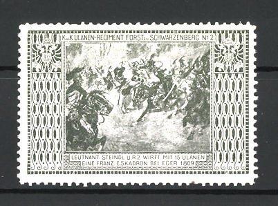 Reklamemarke Ulanen-Regiment Fürst zu Schwarzenberg, Leutnant Steindl wirft mit 15 Ulanen eine franz. Eskadron bei Eger