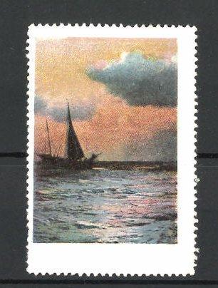 Reklamemarke Segelschiff auf dem Wasser