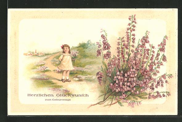 Präge-AK Herzlichen Glückwunsch zum Geburtstage, Mädchen mit Blumenstrauss, Glockenblumen