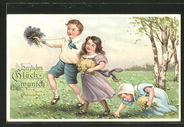 Präge-AK Herzlichen Glückwunsch zum Geburtstage, Junge und zwei Mädchen mit Blumensträussen auf einer Wiese
