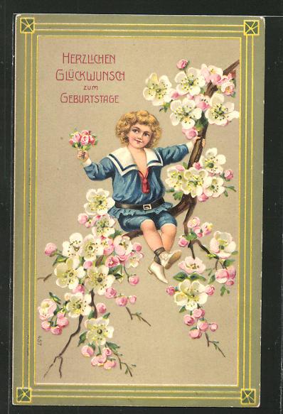Präge-AK Herzlichen Glückwunsch zum Geburtstage, Junge mit Blumenstrauss auf einem blühenden Zweig sitzend
