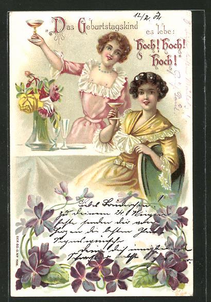 Präge Ak Geburtstagsgrüsse Zwei Junge Frauen Erheben Das Glas Das