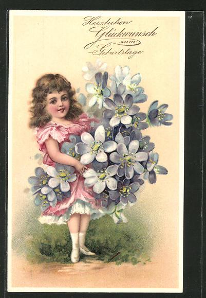 Präge-AK Herzlichen Glückwunsch zum Geburtstage, kleines Mädchen mit einem grossen Blumenstrauss