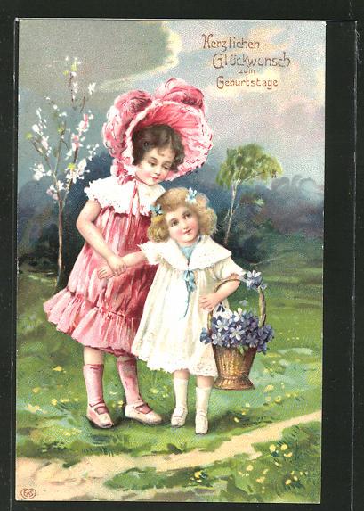 Präge-AK Herzlichen Glückwunsch zum Geburtstage, zwei hübsche Mädchen mit einem Blumenkorb