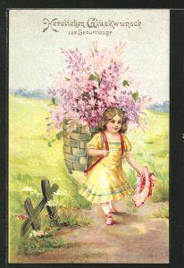 Präge-AK Herzlichen Glückwunsch zum Geburtstage, Mädchen mit einem Korb voller Blumen auf dem Rücken
