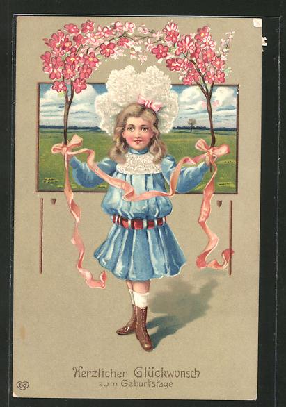Präge-AK Herzlichen Glückwunsch zum Geburtstage, Mädchen in toller Kleidung mit zwei Blütenzweigen