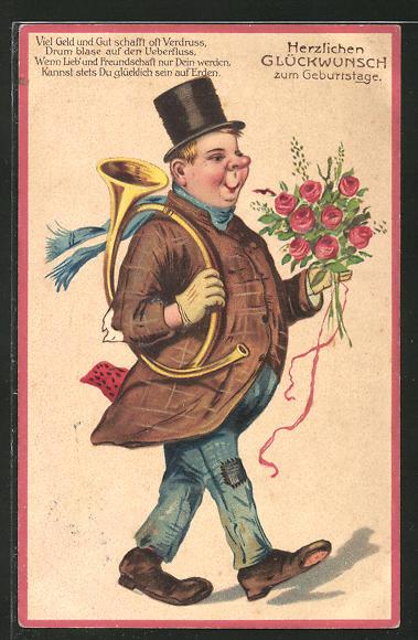Ak Mann Mit Posthorn Und Blumenstrauss Geburtstag Nr 8108032