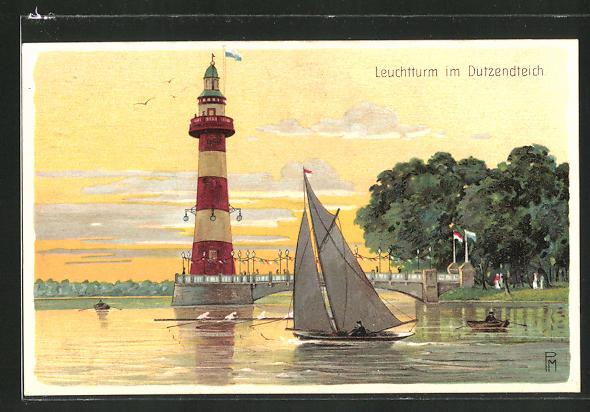 Lithographie Leuchtturm im Dutzendteich